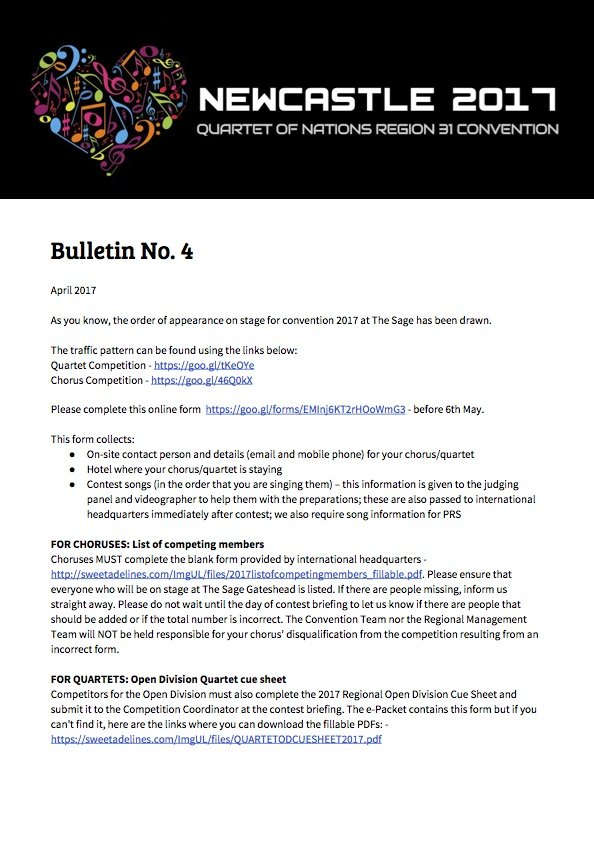 Newcastle 2017 Convention - Bulletin No. 4
